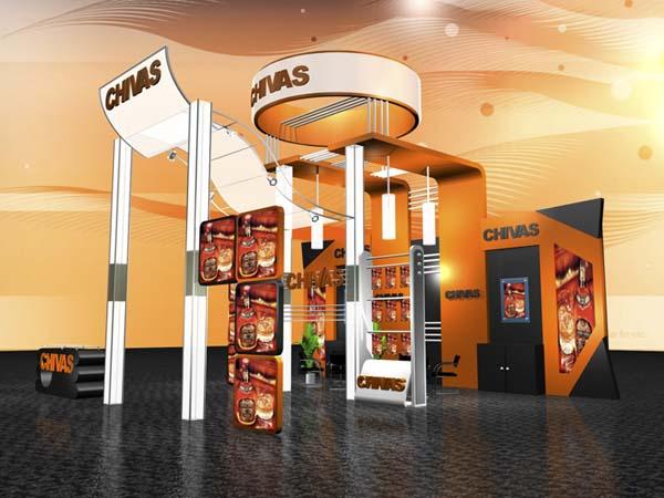 chivas展台效果图加3D模型 卖场 展厅 陈列 空间 建筑 原创设计 第一设