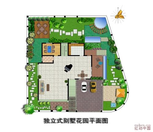 独立式别墅花园平面图 关键词: 别墅 平面图 花园 还算满意