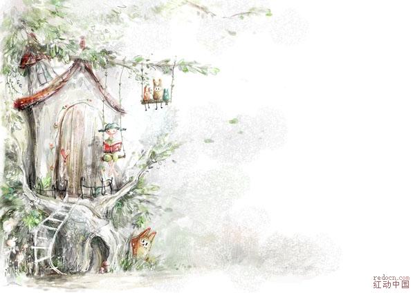 韩国手绘童话风格插画2