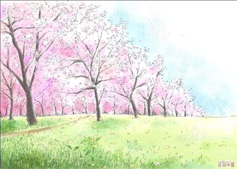 浪漫水粉樱花