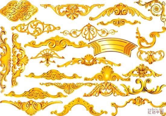 25款欧式金色 花纹 花边 边框 条框 像框素材【32.9m】【2包】