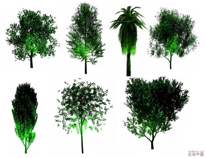灯光效果景观树木素材