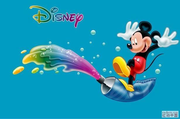 米老鼠脚踏水粉颜料矢量图