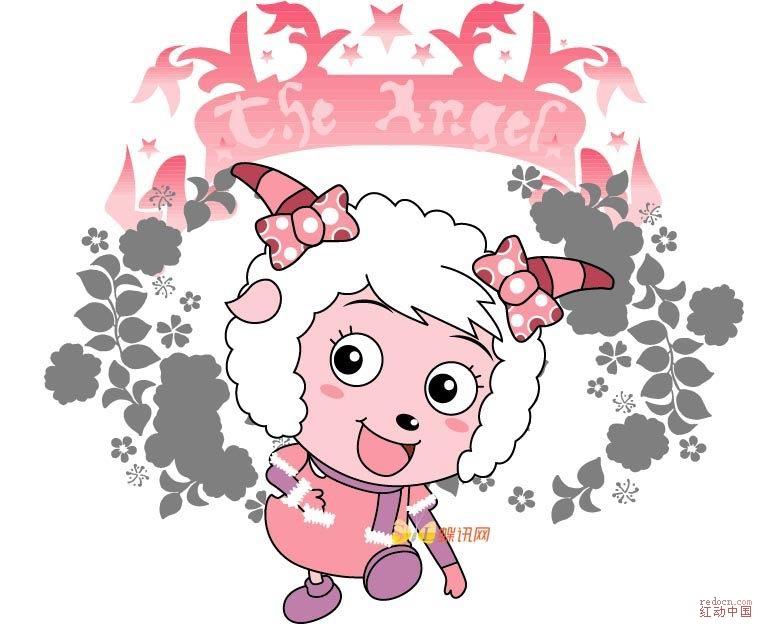 喜羊羊头像简笔画-喜洋洋和灰太狼矢量大全 卡通绘画 粉可爱的中国卡通人物