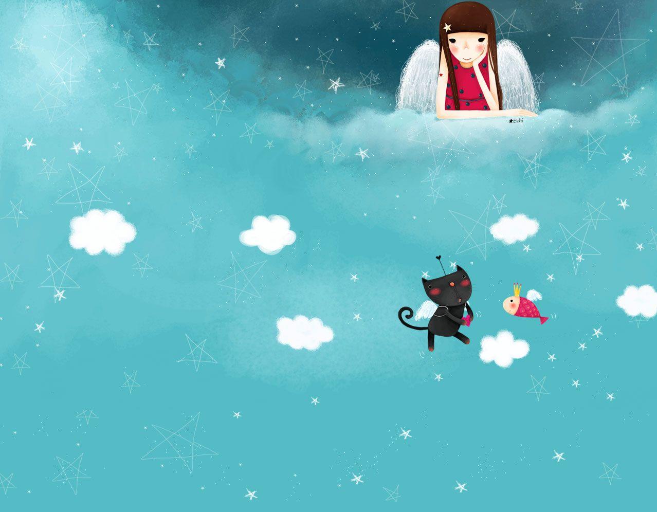 韩国卡通淡彩大屏背景