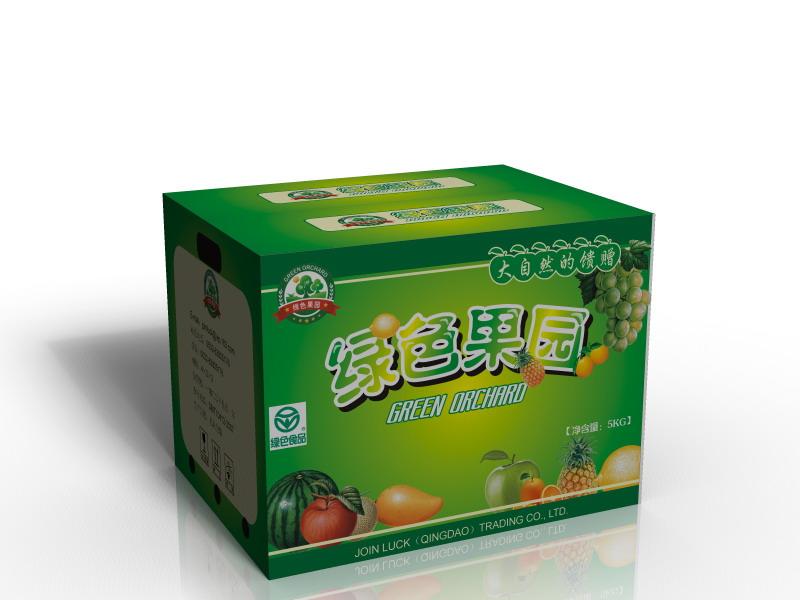 绿色农夫果园水果箱包装设计