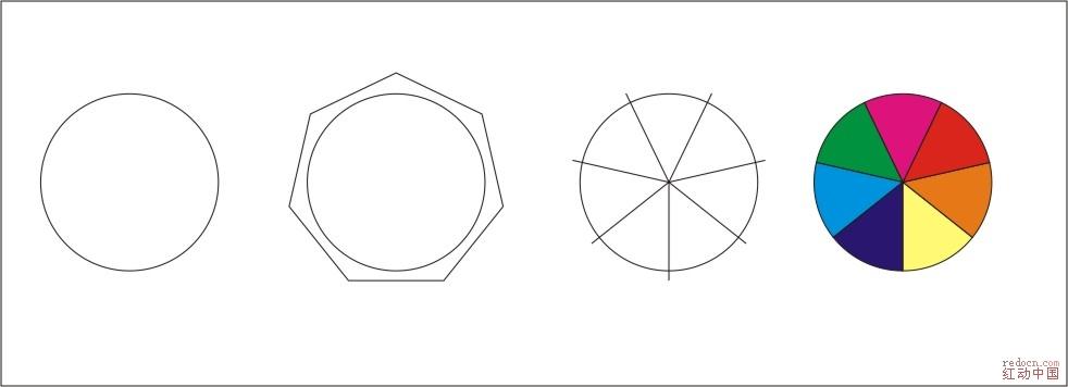 cdr 如何把一个圆等分成7份,每一份都是独立的