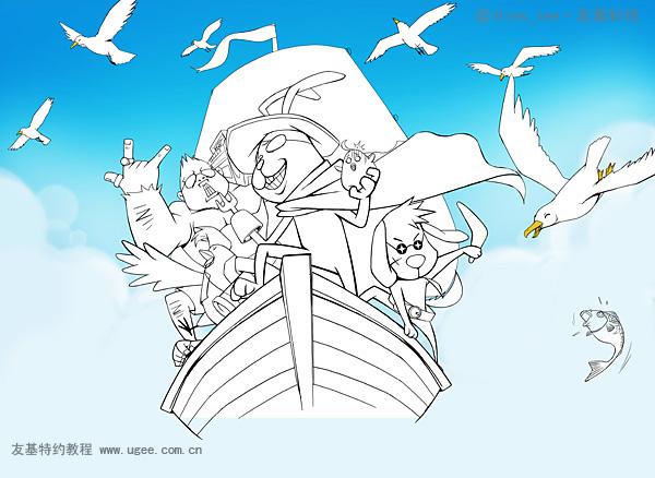 PS兔011创意卡套设计教程 海盗兔 鼠绘 绘画 鼠绘 Photoshop教程