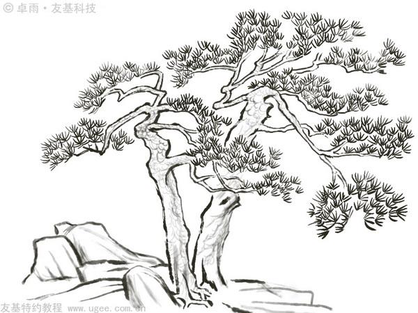 图15 16.选择浓墨,开始绘制树干上的斑点和石头的青苔,让画面更加活泼,有生命力。这里要注意控制笔刷尺寸,石头部分的点可以大些,树干上的点要小一点。点的疏密是基于平面的设计感,不需拘泥于具体造型。点完之后,可以再加上树藤。画完这部分,点的步骤就结束了,这张国画也基本上画完了。 图16 17.