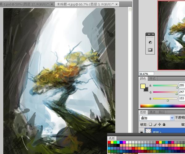 数位板场景插画教程 向神树祈愿 友基数位板教程专区 Photoshop教程