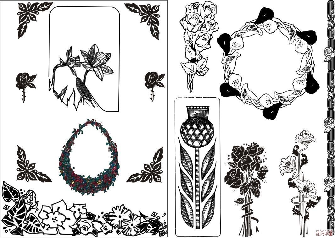 白描花卉及花边图片